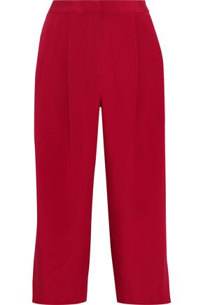 ADAM LIPPES Pleated silk-crepe culottes