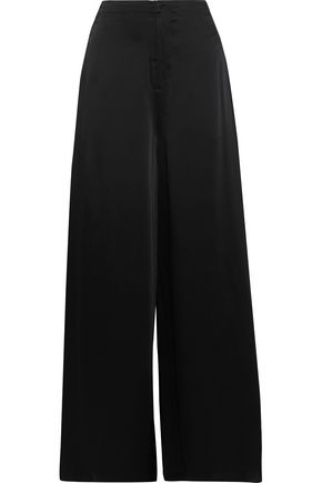 ADEAM Lace-up satin wide-leg pants