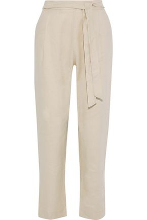 IRIS & INK Fiona belted linen straight-leg pants