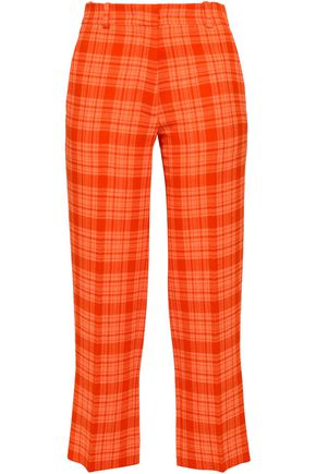VICTORIA BECKHAM Cropped checked wool-blend crepe straight-leg pants