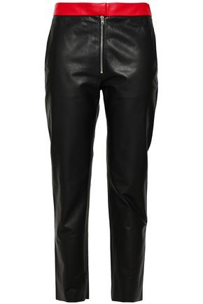 VICTORIA BECKHAM Two-tone leather slim-leg pants