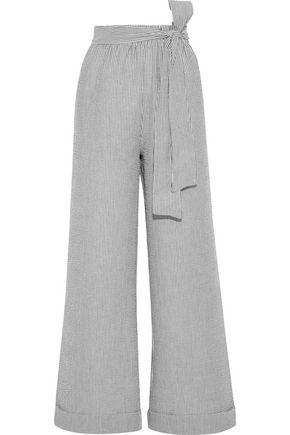 Carolina Tie Front Striped Seersucker Wide Leg Pants by Iris & Ink