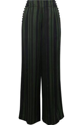 ADEAM Button-detailed striped satin wide-leg pants