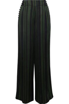 ADEAM Button-detailed striped satin wide-leg pants