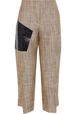 ACNE STUDIOS Snake effect leather-paneled silk and linen-blend tapered pants