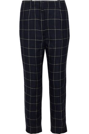ACNE STUDIOS Marina cropped checked linen-twill pants