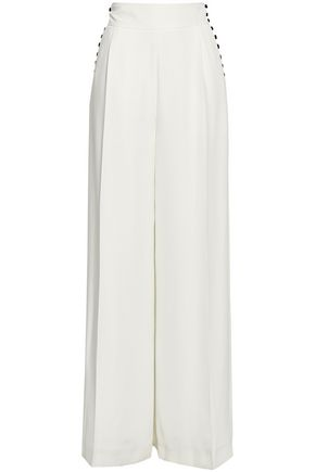 ADEAM Button-detailed cady wide-leg pants