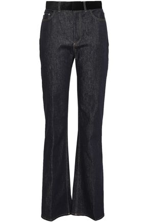 ADEAM Velvet-trimmed high-rise bootcut jeans