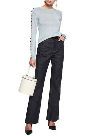 ADEAM Velvet-trimmed high-rise bootcut jeans