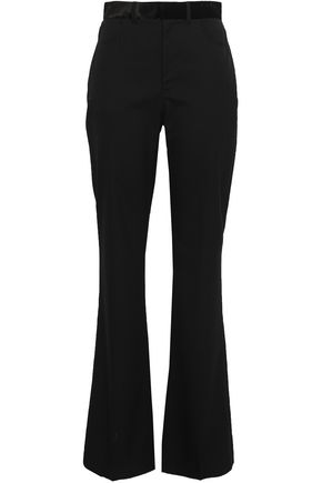 ADEAM Velvet-trimmed wool-blend bootcut pants