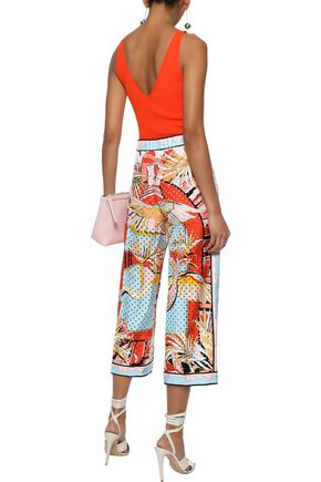 EMILIO PUCCI Cropped perforated printed silk-twill wide-leg pants