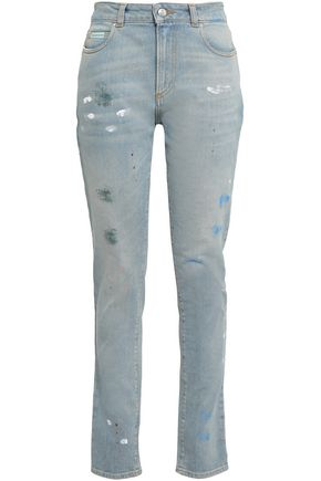 ALEXACHUNG Painted distressed high-rise slim-leg jeans