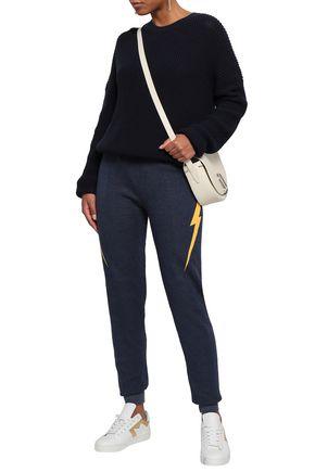 WILDFOX Printed cotton-blend fleece track pants