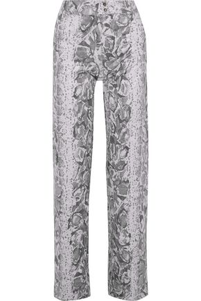 ACNE STUDIOS Thes snake-print coated-jersey wide-leg pants