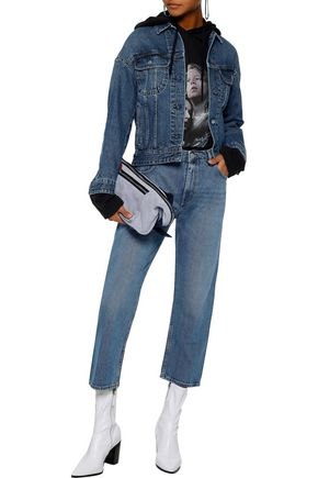 Acne Studios Jeans ACNE STUDIOS WOMAN CROPPED DISTRESSED MID-RISE STRAIGHT-LEG JEANS MID DENIM
