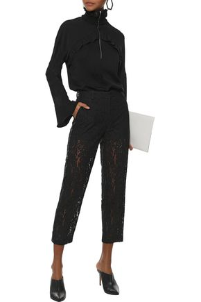 ROBERT RODRIGUEZ Cropped sequin-embellished cotton-blend corded lace straight-leg pants