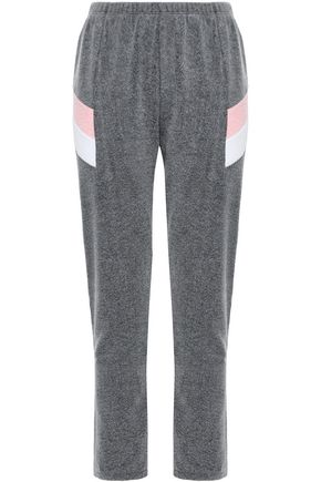 WILDFOX Striped cotton-blend fleece track pants