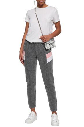 WILDFOX Striped cotton-blend fleece track pants