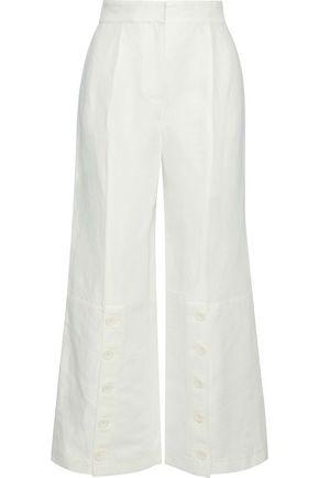 ROBERT RODRIGUEZ Button-detailed linen-twill wide-leg pants