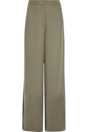 ROBERT RODRIGUEZ Satin-paneled washed-silk wide-leg pants