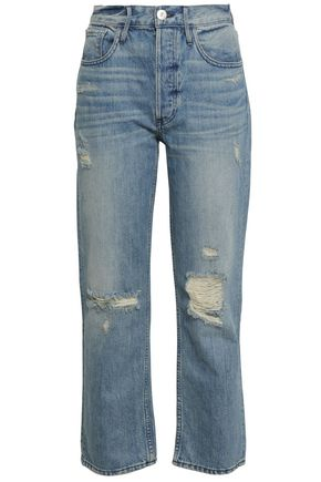 3x1 Aberdeen cropped distressed mid-rise slim-leg jeans