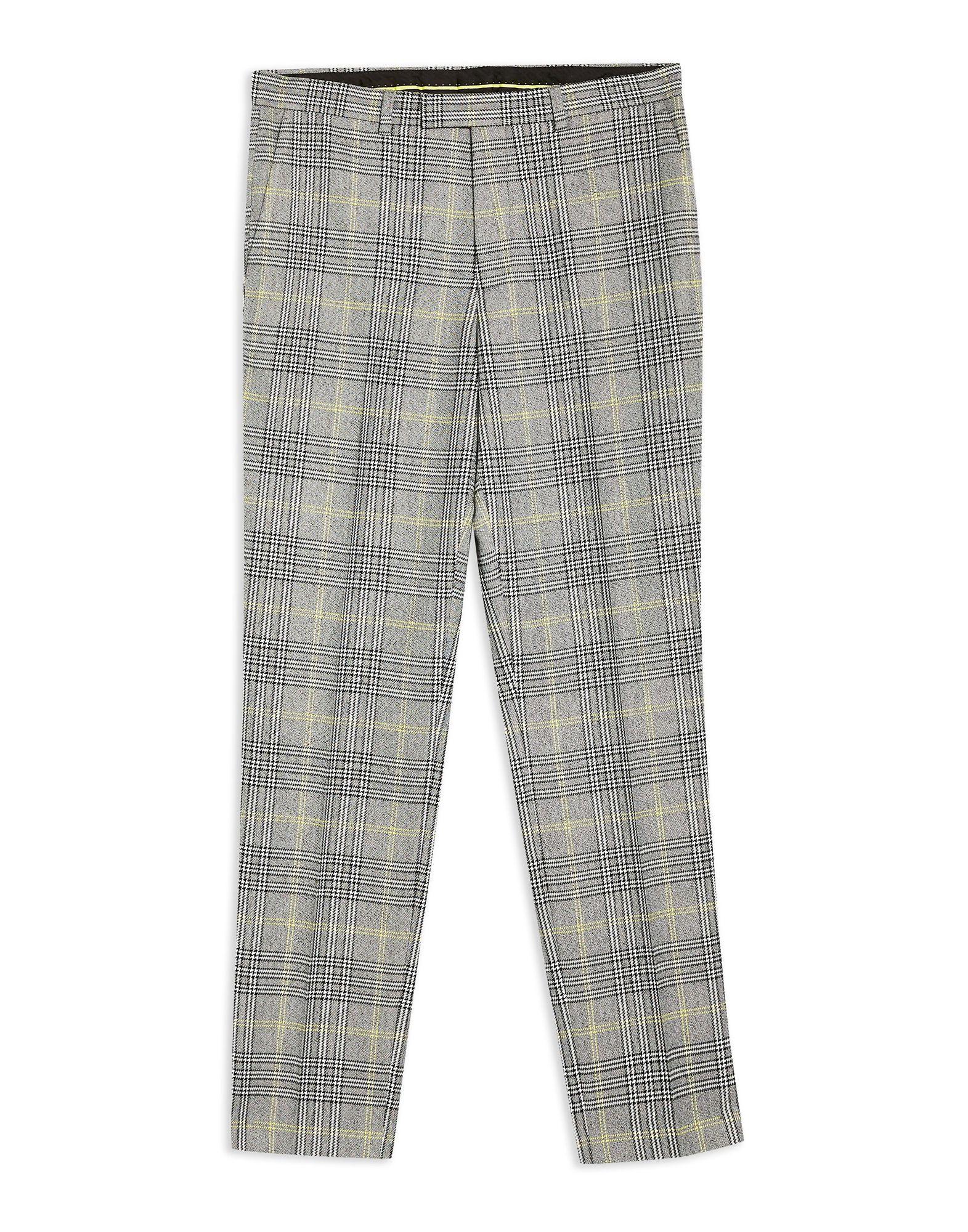 《期間限定セール中》TOPMAN メンズ パンツ ブラック 28 ポリエステル 78% / レーヨン 21% / ポリウレタン 1% Grey Check Slim Trousers