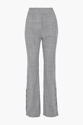 LELA ROSE Button-detailed gingham wool bootcut pants