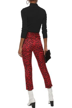 ROBERT RODRIGUEZ Cropped leopard-print satin-crepe skinny pants
