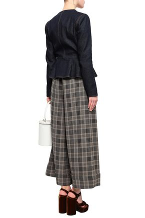 ADAM LIPPES Belted checked jacquard wide-leg pants