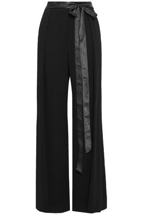 ADAM LIPPES Moire-trimmed crepe wide-leg pants