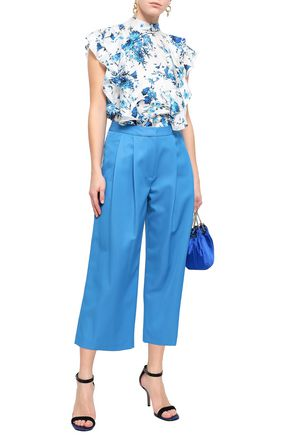 ADAM LIPPES Cropped pleated wool-blend twill wide-leg pants