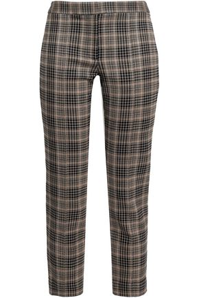 ADAM LIPPES Cropped checked jacquard slim-leg pants