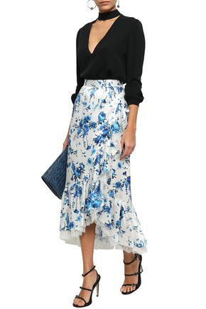 ADAM LIPPES Wrap-effect lace-trimmed hammered-silk midi skirt