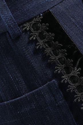 ADAM LIPPES Lace-trimmed denim culottes
