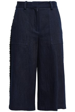 ADAM LIPPES Lace-trimmed denim culottes