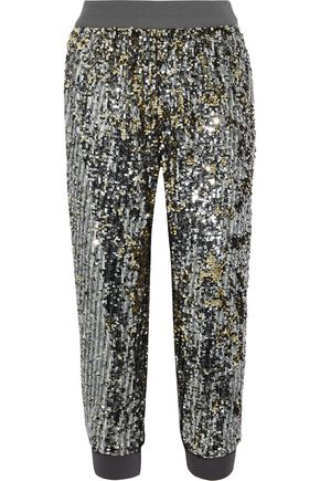 ALICE + OLIVIA Pete cropped sequined jersey track pants