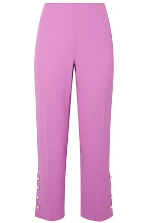 LELA ROSE Cropped faux pearl-embellished wool-blend crepe straight-leg pants