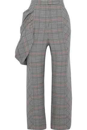 ROSIE ASSOULIN Draped Prince of Wales checked wool kick-flare pants