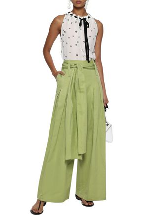 Rosie Assoulin Woman Tie-Front Cotton And Ramie-Blend Wide-Leg Pants Sage Green