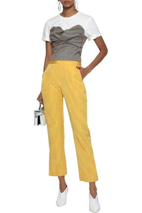 Rosie Assoulin Woman Oboe Cropped Silk And Wool-Blend Moire Straight-Leg Pants Marigold