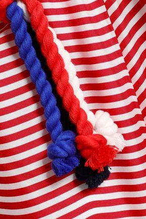PAPER London Nevis braid-trimmed striped silk-twill wide-leg pants