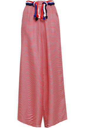 PAPER London Nevis braid-trimmed striped silk-twill wide-leg pants