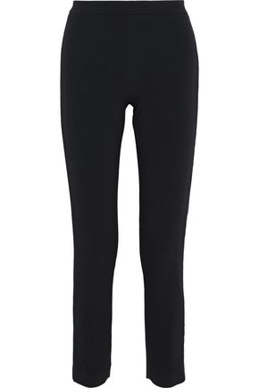 BRANDON MAXWELL Cropped satin-trimmed cady slim-leg pants