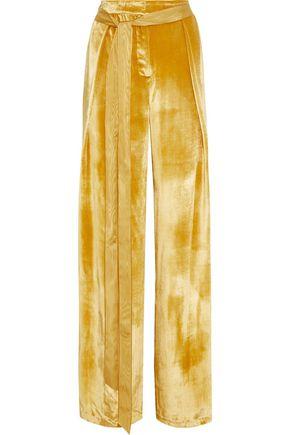 ADAM LIPPES Belted velvet wide-leg pants