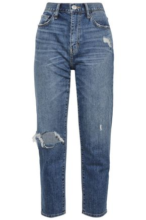 CURRENT/ELLIOTT Cropped distressed high-rise slim-leg jeans