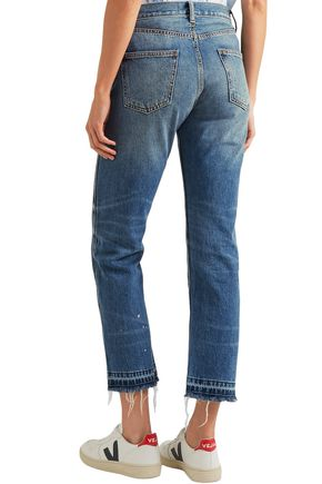 CURRENT/ELLIOTT The Throwback Original distressed high-rise straight-leg jeans