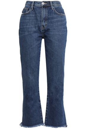 CURRENT/ELLIOTT Peacenik frayed cropped high-rise kick-flare jeans
