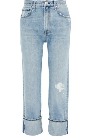 RAG & BONE Cropped distressed straight-leg jeans