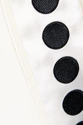 ADAM LIPPES Polka-dot satin-trimmed silk-crepe wide-leg pants