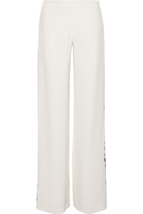 ADAM LIPPES Polka-dot satin-trimmed silk-crepe wide-leg pants